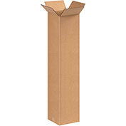 "Tall Corrugated Boxes 9"" x 9"" x 36"", 200 lb. Test/ECT-32 Kraft - 25 Pack"