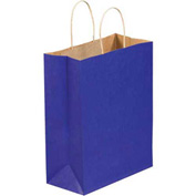 "1/4"" Parade Blue Tinted Shopping Bags 8"" x 4 1/2"" x 10"" 250 Pack"