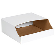 "12"" x 12"" x 4-1/2"" Stackable White Corrugated Bin Box - BINB1212 - Pkg Qty 50"