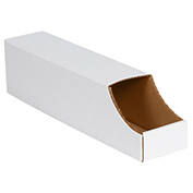 "4"" x 18"" x 4-1/2"" Stackable White Corrugated Bin Box - BINB418 - Pkg Qty 50"