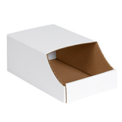 "7"" x 12"" x 4-1/2"" Stackable White Corrugated Bin Box - BINB712 - Pkg Qty 50"