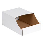 "8"" x 12"" x 4-1/2"" Stackable White Corrugated Bin Box - BINB812 - Pkg Qty 50"