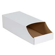 "8"" x 18"" x 4-1/2"" Stackable White Corrugated Bin Box - BINB818 - Pkg Qty 50"