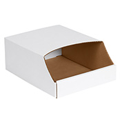 "9"" x 12"" x 4-1/2"" Stackable White Corrugated Bin Box - BINB912 - Pkg Qty 50"