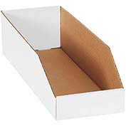 "6"" x 18"" x 4-1/2"" Open Top White Corrugated Bin Boxes - Pkg Qty 50"