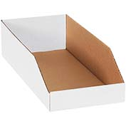 "8"" x 18"" x 4-1/2"" Open Top White Corrugated Bin Boxes - Pkg Qty 50"