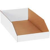 "10"" x 18"" x 4-1/2"" Open Top White Corrugated Bin Boxes - Pkg Qty 25"