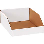 "10"" x 12"" x 4-1/2"" Open Top White Corrugated Bin Boxes - Pkg Qty 25"