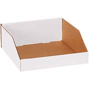 "12"" x 12"" x 4-1/2"" Open Top White Corrugated Bin Boxes - Pkg Qty 50"