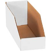 "4"" x 12"" x 4-1/2"" Open Top White Corrugated Bin Boxes - Pkg Qty 50"