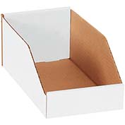 "6"" x 12"" x 4-1/2"" Open Top White Corrugated Bin Boxes - Pkg Qty 50"