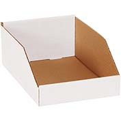 "8"" x 12"" x 4-1/2"" Open Top White Corrugated Bin Boxes - Pkg Qty 50"