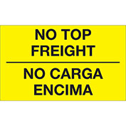 "No Top Freight 3"" x 5"" Bilingual Labels Fluorescent Yellow 500 Per Roll"