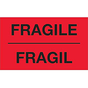 "Fragile 3"" x 5"" Bilingual Labels Fluorescent Red 500 Per Roll"