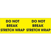 "Do Not Break Stretch Wrap 3"" x 10"" Pallet Corner Labels Fluorescent Yellow 500 Per Roll"