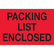 "Packing List Enclosed 2"" x 3"" Labels Red/Black 500 Per Roll"
