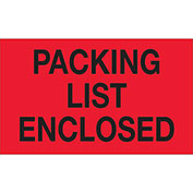 "Packing List Enclosed 3"" x 5"" Labels Fluorescent Red 500 Per Roll"