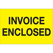 """Invoice Enclosed 2"""" x 3"""" Labels Yellow 500 Per Roll"""