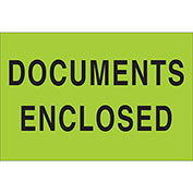 "Documents Enclosed 2"" x 3"" Labels Green 500 Per Roll"