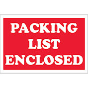 "Packing List Enclosed 2"" x 3"" Labels Red/White 500 Per Roll"