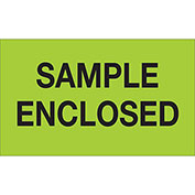 "Sample Enclosed 3"" x 5"" Labels Fluorescent Green 500 Per Roll"