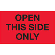 "Open This Side Only 3"" x 5"" Labels Fluorescent Red 500 Per Roll"