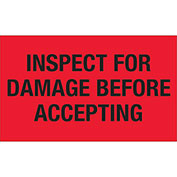 """Inspect For Damage Before Accepting 3"""" x 5"""" Labels Red 500 Per Roll"""