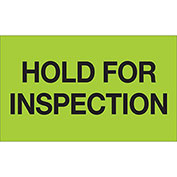 """Hold For Inspection 3"""" x 5"""" Labels Green 500 Per Roll"""