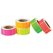 """2"""" x 4"""" Inventory Rectangle Labels in 5 Fluorescent Colors 5000 Pack"""