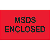 "MSDS Enclosed 3"" x 5"" Labels Red/Black 500 Per Roll"