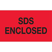 "SDS Enclosed Labels - Fluorescent Red/Black 3"" x 5"" - 500 Per Roll"