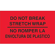 "Do Not Break Stretch Wrap 3"" x 5"" Bilingual Labels Fluorescent Red 500 Per Roll"