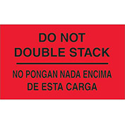 "Do Not Double Stack 3"" x 5"" Bilingual Labels Fluorescent Red 500 Per Roll"