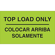"Top Load Only 3"" x 5"" Bilingual Labels Fluorescent Green 500 Per Roll"