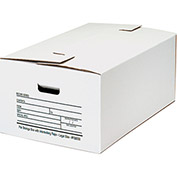 "Interlocking Flap File Storage Box FSB550 - Legal 24""L x 15""W x 10""H White, Price Each - Pkg Qty 12"