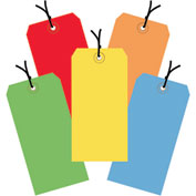 "13 Pt. Shipping Tags, Pre-Strung, #5, 4-3/4"" x 2-3/8"", Assorted Colors - 1000 Pack"
