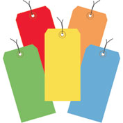 "13 Pt. Shipping Tags, Pre-Wired, #5, 4-3/4"" x 2-3/8"", Assorted Colors - 1000 Pack"