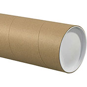 "Heavy-Duty Mailing Tube with Caps, 48""L x 5"" Diameter x 0.125 Wall Thickness, Kraft, 15 Pack"