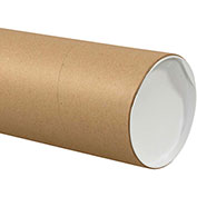 "Heavy-Duty Mailing Tube with Caps, 24""L x 6"" Diameter x 0.125 Wall Thickness, Kraft, 10 Pack"