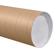 "Heavy-Duty Mailing Tube with Caps, 48""L x 8"" Diameter x 0.125 Wall Thickness, Kraft, 10 Pack"