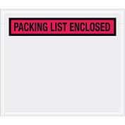 "Document Envelopes ""Packing List Enclosed"" 7"" x 6"", Red - 1000 Pack"