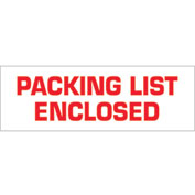 "Printed Carton Sealing Tape ""Packing List Enclosed"" 2"" x 55 Yds Red/White - 18/PACK"