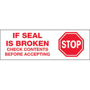 "Tape Logic® Printed Carton Sealing Tape ""Stop If Seal Is Broken"" 2"" x 110 Yds. White/Red - Pkg Qty 36"