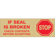 "Printed Carton Sealing Tape ""Stop If Seal Is Broken..."" 2"" x 110 Yds Red/Tan - Pkg Qty 6"