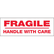 """Printed Carton Sealing Tape """"Fragile Handle With Care"""" 2"""" x 110 Yds White/Red - 36/PACK"""