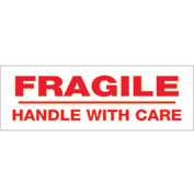 """Printed Carton Sealing Tape """"Fragile Handle With Care"""" 2"""" x 110 Yds Red/ White - Pkg Qty 18"""