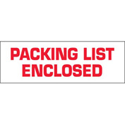 "Printed Carton Sealing Tape ""Packing List Enclosed"" 2"" x 110 Yds White/Red - 36/PACK"