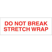 "Printed Carton Sealing Tape ""Do Not Break Stretch Wrap"" 2"" x 110 Yds Red/White - Pkg Qty 18"