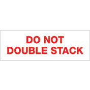 """Printed Carton Sealing Tape """"Do Not Double Stack"""" 2"""" x 110 Yds Red/White - Pkg Qty 18"""