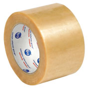 "Natural Rubber Carton Sealing Tape 3"" x 110 Yds 2.2 Mil Clear - Pkg Qty 6"